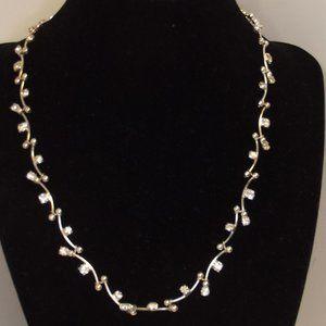 Silver Tone & Rhinestone Choker Necklace Bride
